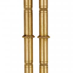 Two Neoclassical style marble gilt bronze and mahogany side tables - 1274249