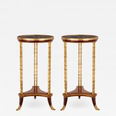 Two Neoclassical style marble gilt bronze and mahogany side tables - 1275322