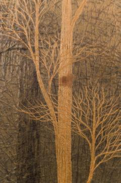 Two Panel Screen Autumn Forest with Mountain Rare Obara Paper Art Screen - 1905821