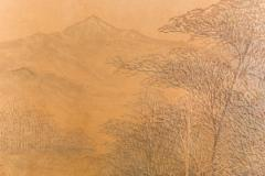 Two Panel Screen Autumn Forest with Mountain Rare Obara Paper Art Screen - 1905841