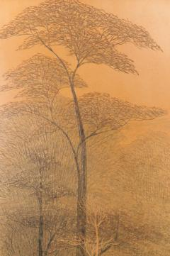 Two Panel Screen Autumn Forest with Mountain Rare Obara Paper Art Screen - 1905842
