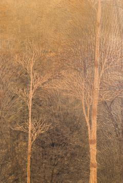 Two Panel Screen Autumn Forest with Mountain Rare Obara Paper Art Screen - 1905845