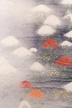 Two Panel Screen Chrysanthemums Through the Mist Rare Obara Paper Art Screen - 1939435