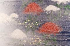 Two Panel Screen Chrysanthemums Through the Mist Rare Obara Paper Art Screen - 1939438