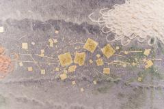 Two Panel Screen Chrysanthemums Through the Mist Rare Obara Paper Art Screen - 1939444