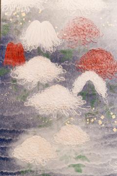 Two Panel Screen Chrysanthemums Through the Mist Rare Obara Paper Art Screen - 1939460