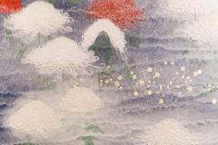 Two Panel Screen Chrysanthemums Through the Mist Rare Obara Paper Art Screen - 1939462