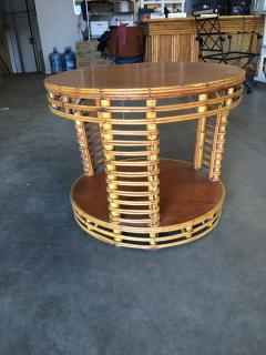 Two Tier Round Stick Rattan Coffee Table with Mahogany Top - 1348078