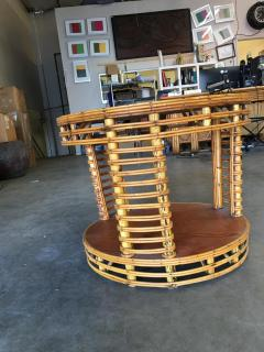 Two Tier Round Stick Rattan Coffee Table with Mahogany Top - 1348079