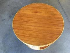 Two Tier Round Stick Rattan Coffee Table with Mahogany Top - 1348081
