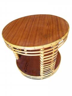 Two Tier Round Stick Rattan Coffee Table with Mahogany Top - 1348083
