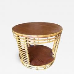 Two Tier Round Stick Rattan Coffee Table with Mahogany Top - 1349276