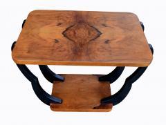 Two Tiered Art Deco English Walnut Coffee Table - 987553