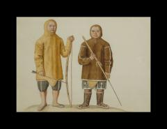 Two Watercolors of Greenland Inuit During A Missionary Tour of Copenhagen C 1724 - 551249