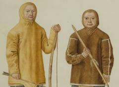 Two Watercolors of Greenland Inuit During A Missionary Tour of Copenhagen C 1724 - 551251