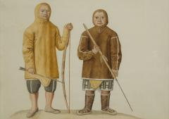 Two Watercolors of Greenland Inuit During A Missionary Tour of Copenhagen C 1724 - 552049