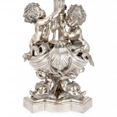 Two large Louis XIV style silvered bronze thirteen light candelabra - 1577250