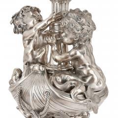 Two large Louis XIV style silvered bronze thirteen light candelabra - 1577253