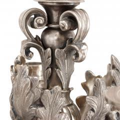 Two large Louis XIV style silvered bronze thirteen light candelabra - 1577255