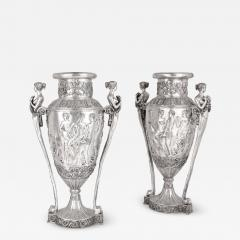 Two very large French silvered bronze vases - 1667484