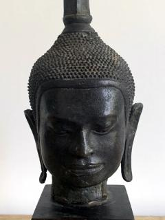 U Thong Bronze Buddha Head Southeast Asia - 1543886
