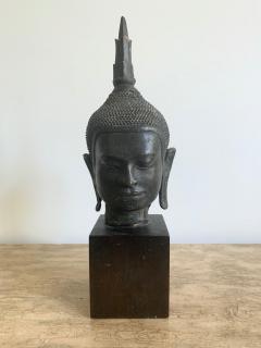 U Thong Bronze Buddha Head Southeast Asia - 1543894