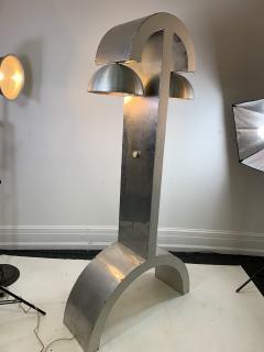 UNIQUE MODERNIST ALUMINUM AND WOOD FLOOR LAMP - 1170584