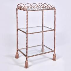 US 1970s three tiered gold metal shelving stand - 1495356