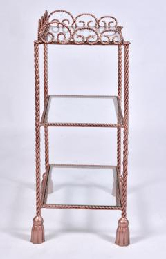 US 1970s three tiered gold metal shelving stand - 1495357