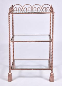 US 1970s three tiered gold metal shelving stand - 1495358