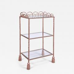 US 1970s three tiered gold metal shelving stand - 1497150