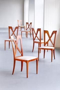 Ulderico Carlo Forni Set of Six Ulderico Carlo Forni Dining Chairs in Cherry Wood Italy 1940s - 1190621