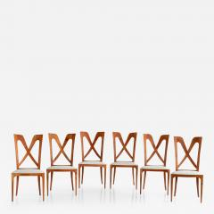 Ulderico Carlo Forni Set of Six Ulderico Carlo Forni Dining Chairs in Cherry Wood Italy 1940s - 1191032