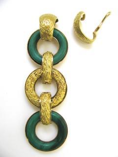 Ulmer et Cie Malachite and Gold Link Modular Jewel - 75741