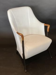 Umberto Asnago Pair Italian Modern Walnut Ebonized Club Chairs Umberto Asnago for Giorgetti - 1357102