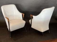 Umberto Asnago Pair Italian Modern Walnut Ebonized Club Chairs Umberto Asnago for Giorgetti - 1357103