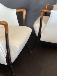 Umberto Asnago Pair Italian Modern Walnut Ebonized Club Chairs Umberto Asnago for Giorgetti - 1357104