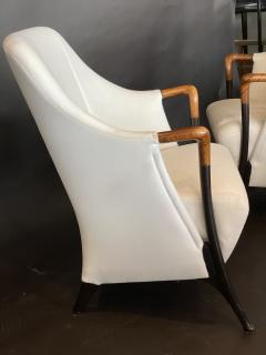 Umberto Asnago Pair Italian Modern Walnut Ebonized Club Chairs Umberto Asnago for Giorgetti - 1357105