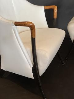 Umberto Asnago Pair Italian Modern Walnut Ebonized Club Chairs Umberto Asnago for Giorgetti - 1357106
