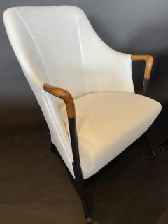 Umberto Asnago Pair Italian Modern Walnut Ebonized Club Chairs Umberto Asnago for Giorgetti - 1357108