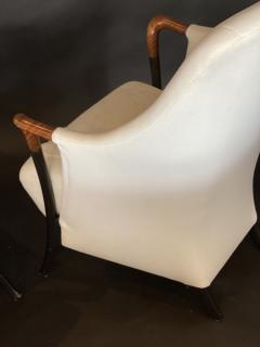Umberto Asnago Pair Italian Modern Walnut Ebonized Club Chairs Umberto Asnago for Giorgetti - 1357109