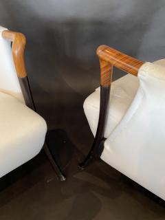 Umberto Asnago Pair Italian Modern Walnut Ebonized Club Chairs Umberto Asnago for Giorgetti - 1357110
