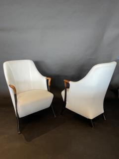 Umberto Asnago Pair Italian Modern Walnut Ebonized Club Chairs Umberto Asnago for Giorgetti - 1357111