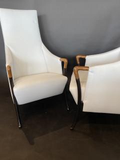 Umberto Asnago Set 4 Italian Modern Walnut Ebonized Club Chairs Umberto Asnago for Giorgetti - 1357428