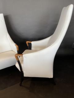 Umberto Asnago Set 4 Italian Modern Walnut Ebonized Club Chairs Umberto Asnago for Giorgetti - 1357430