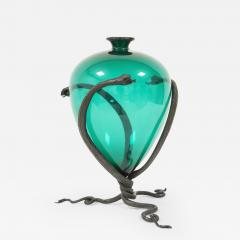 Umberto Bellotto Umberto Bellotto Snake Vase in green glass and wrought iron circa 1920 - 1151514