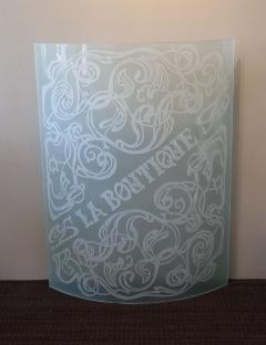 Unique Art Nouveau Carved Glass Panel La Boutique - 792096