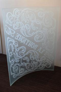 Unique Art Nouveau Carved Glass Panel La Boutique - 792097