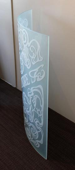 Unique Art Nouveau Carved Glass Panel La Boutique - 792099