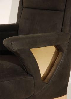 Unique Club Chair with Bronze Base Cutouts - 261053